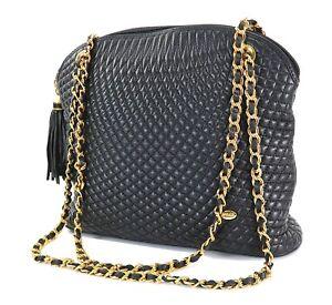 Gesteppte Umhngetasche 31942 Fransen Goldkette Black Bally Leder Auth Quaste EP0qwCxx