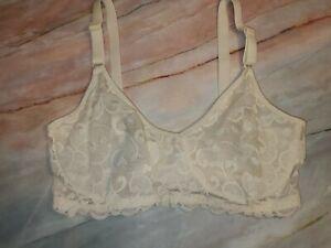Vintage VAN RAALTE Wide Lace Overlay  BRA Underwire Unlined Sheer Ivory 38D