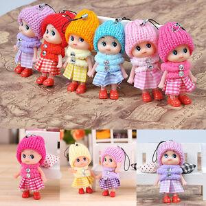 Kinder-Barbie-Mini-Puppe-Baby-Infant-Spielzeug-Beutel-Anhaenger-5pcs-Random