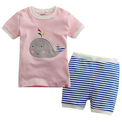 "NWT Vaenaitbaby Toddler Kids Baby Girl's Short Sleepwear Pajama ""Stripe Dolphin"""