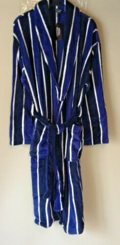 MENS SOFT FLEECE CHECKED OR STRIPE ROBE DRESSING GOWN WITH POCKETS *3 COLOURS*