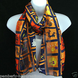 Happy-Halloween-Womens-Scarf-Bat-Cat-Ghost-Witch-Scarfs-Gift-Blue-Scarves-New