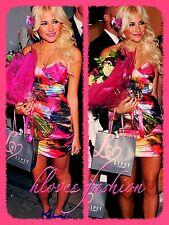💖LIPSY Pixie Lott Dress UK 12 EU 40 Pink Multi NEW+TAGS Gorgeous Satin FAST📮💖