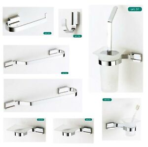 Arredo Bagno Per Hotel.Serie Set Kit Accessori Bagno Ottone Cromato Moderno Minimal Made In