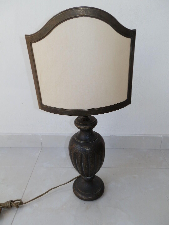 Lampe de de de table en laiton bruni massif avec ventilateur a parchemin | Grand Assortiment  254ecd