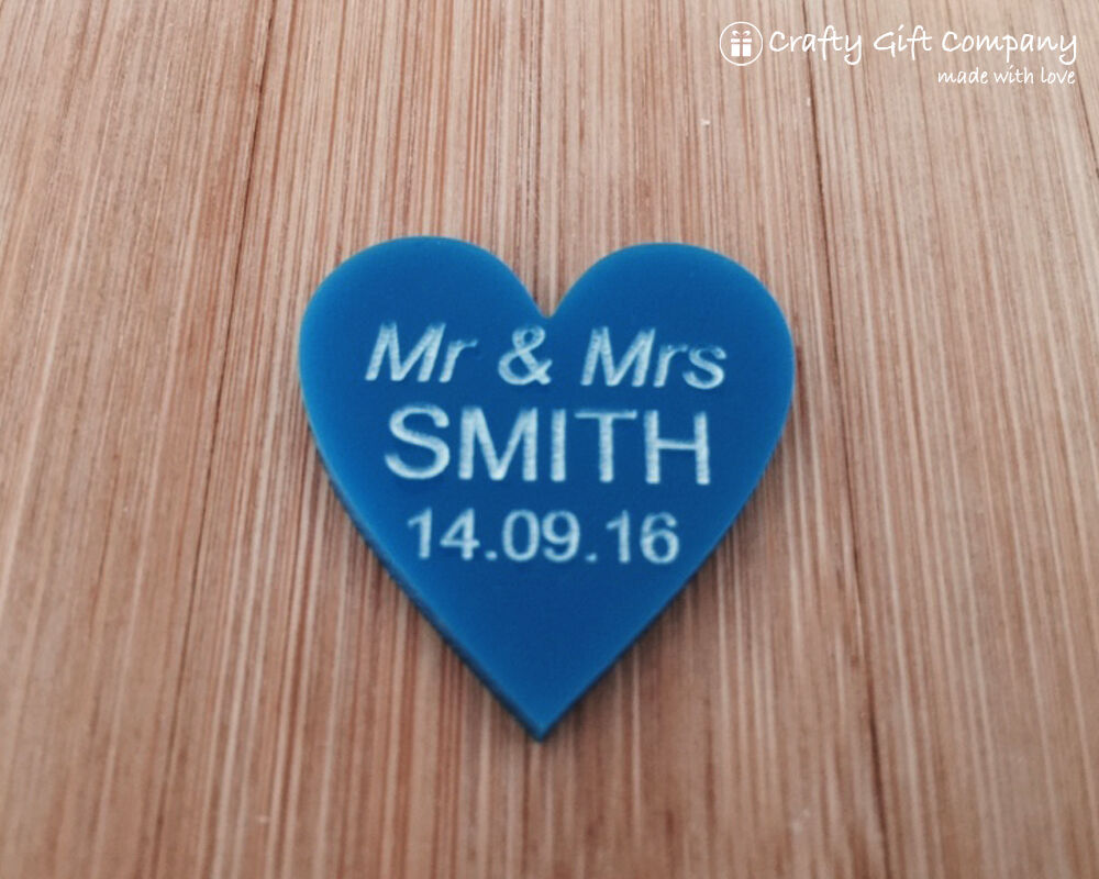 Personalised Blau 3cm Acrylic Heart Wedding Favours Table Decorations Vintage