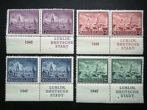Germany Nazi 1942 Stamps MNH Pair Ancient Lublin Swastika Eagle Generalgouvernem