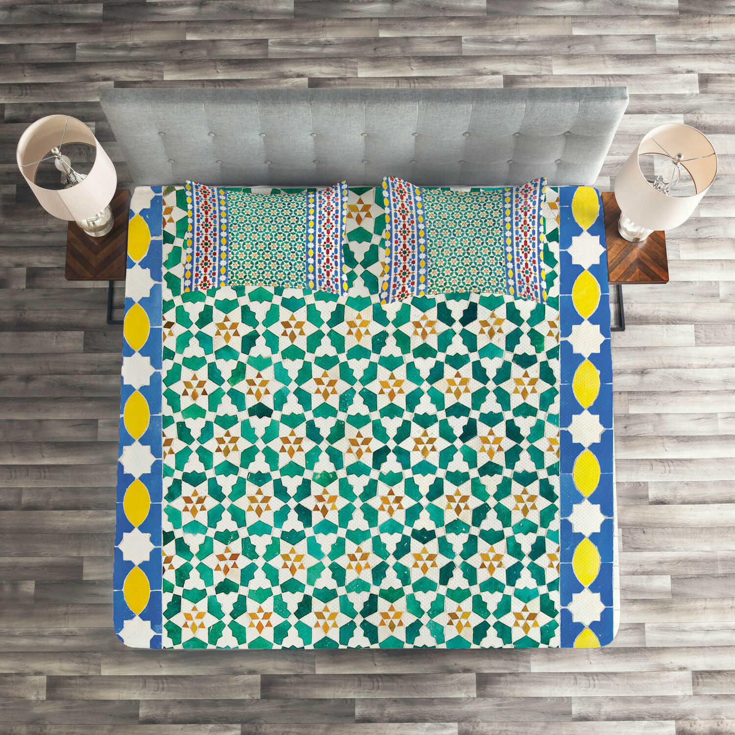 Mgoldccan Quilted Coverlet & Pillow Shams Set, colorful Mosaic Wall Print