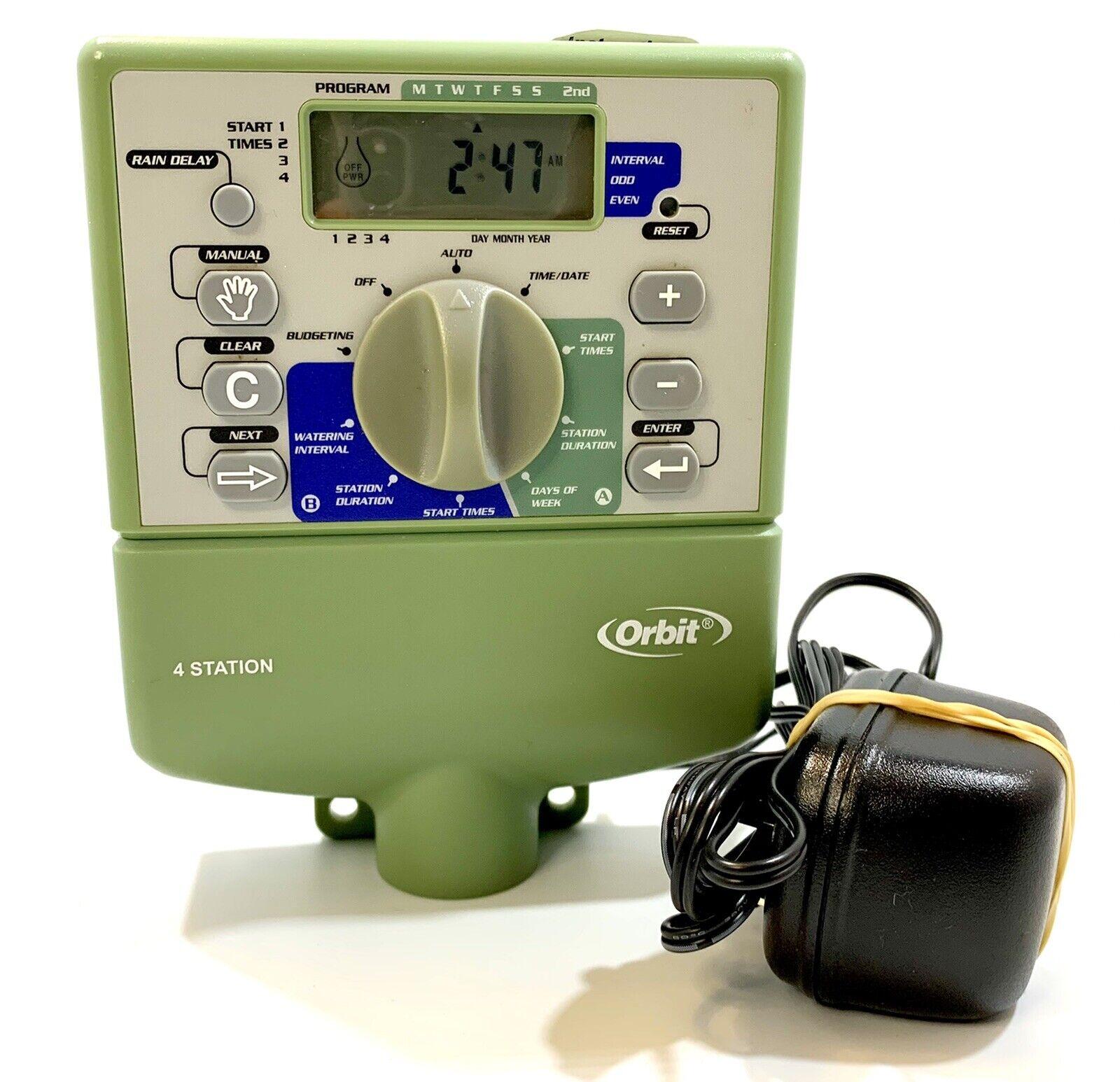 Orbit Model 57194 - WT2Y Sprinkler Timer 4 Stations W/ AC Adaptor Tested Working