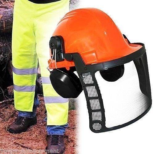 Sierra De Cadena De Seguridad Chaps, Delantal verde De Seguridad Estilo, 35  L, con casco de seguridad naranja