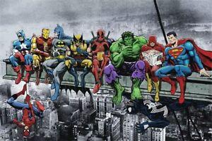 Marvel-Superhelden-Bild-Leinwand-Poster-DC-Comic-Film-Superhero-selten-Deko-Neu