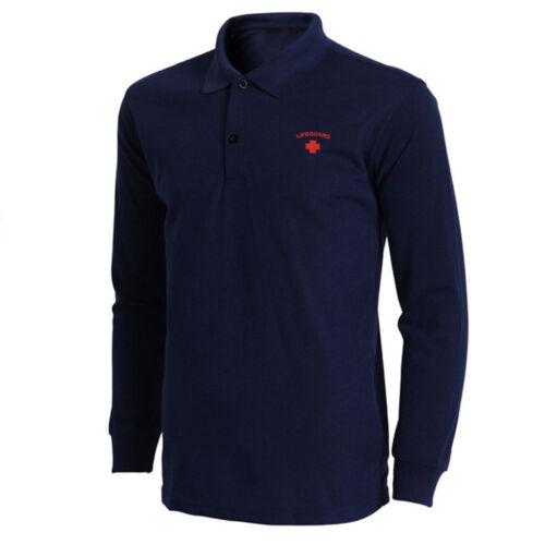 Mens Lifeguard Embroidered Long Sleeve Polo Shirts