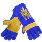 2 x Pair Welders Welding Gloves 'ELLIOTT KEVLAR BLUE' A Grade Leather