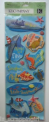 UNDER THE SEA~ K & Company Co Adhesive Chipboard Stickers OCEAN Whale Fish Shark