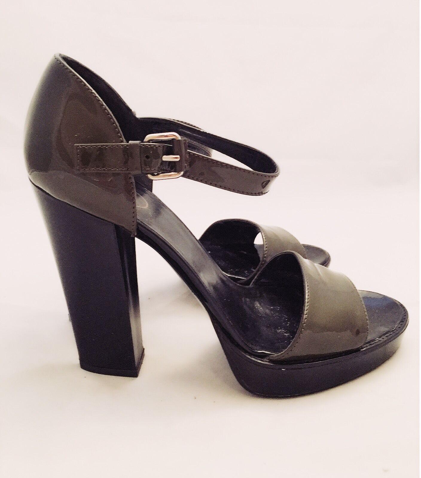 Donna PRADA Dark Khaki Green 9.5 Patent Pelle Platform Heel Strappy Pumps 9.5 Green fc3a9e