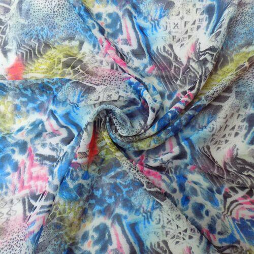 leopard//animal print blue pink yellow Polyester abstract print chiffon organza