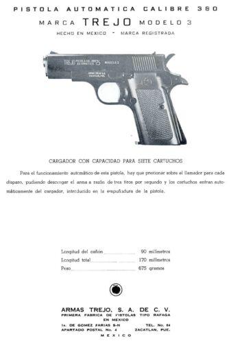 Armas Trejo .380 c1965 Marca Modelo 3 Pistol Parts Flyer Mexico