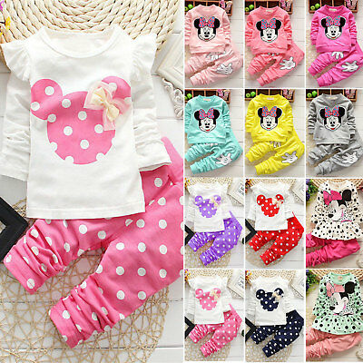 Toddler Infant Baby Girls Minnie Mouse T-Shirt Tops Pants Set Kids Outfits