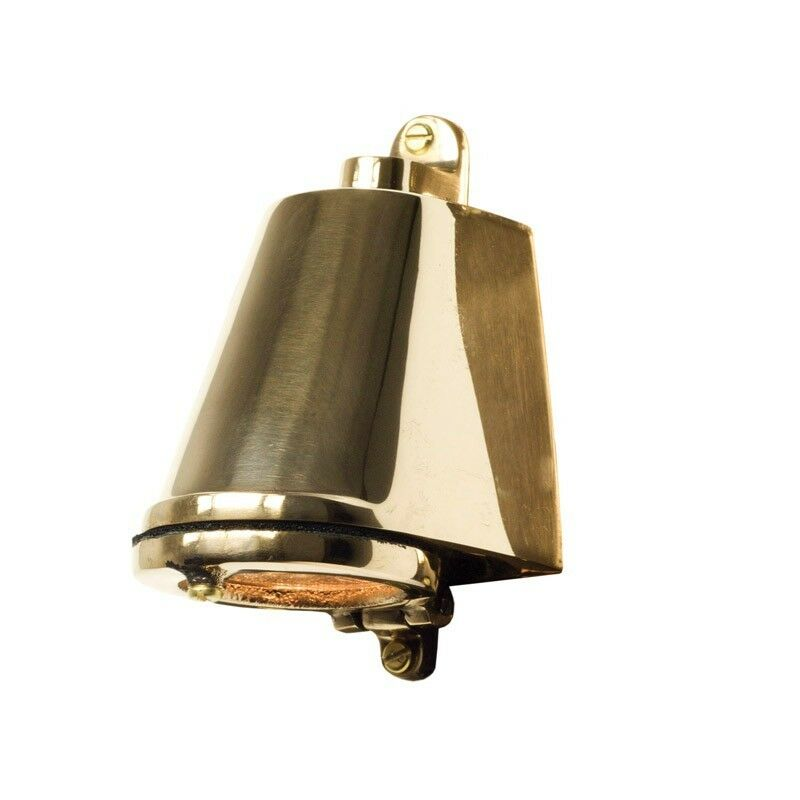 Polished bronze external mast light.