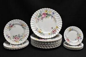 Royal-Doulton-Arcadia-Green-Backstamp-Dinner-Salad-Bread-Plate-19-Pcs-Faults