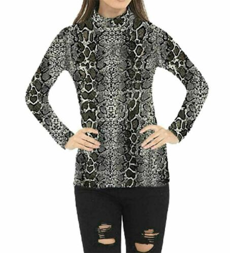 Womens Turtle Polo Neck Animal Top Ladies Snake Printed Party Wear Top T Shirt