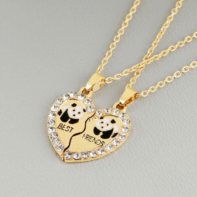 2pcs panda best friends jewelry heart pendant necklace friendship 2pcs panda best friends jewelry heart pendant necklace friendship couple gift mozeypictures Choice Image