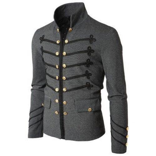 3XL Men/'s Gothic Military Parade Jacket Tunic Rock Black Steampunk Army Coat M