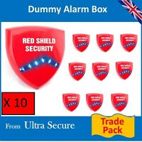 10 X Decoy Alarm Sirens (dummy) & Flashing Led's Trade Pack (red Shield Logo)