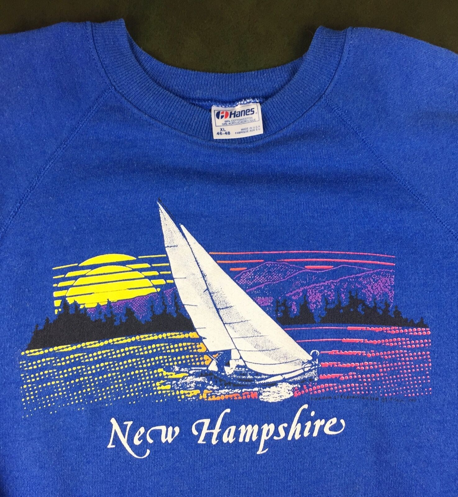 Vintage Mens XL 80s Sailing Sailboat New Hampshire USA Souvenir Hanes Sweatshirt