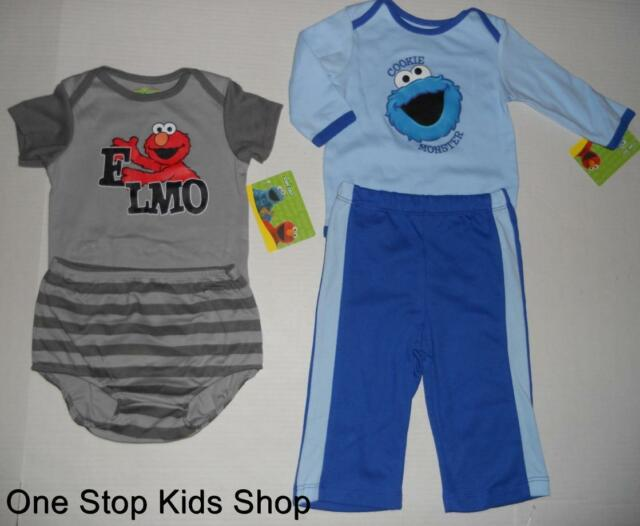 SESAME STREET 3 6 9 Mo Set OUTFIT Shirt Bodysuit Top Pants ELMO Cookie Monster