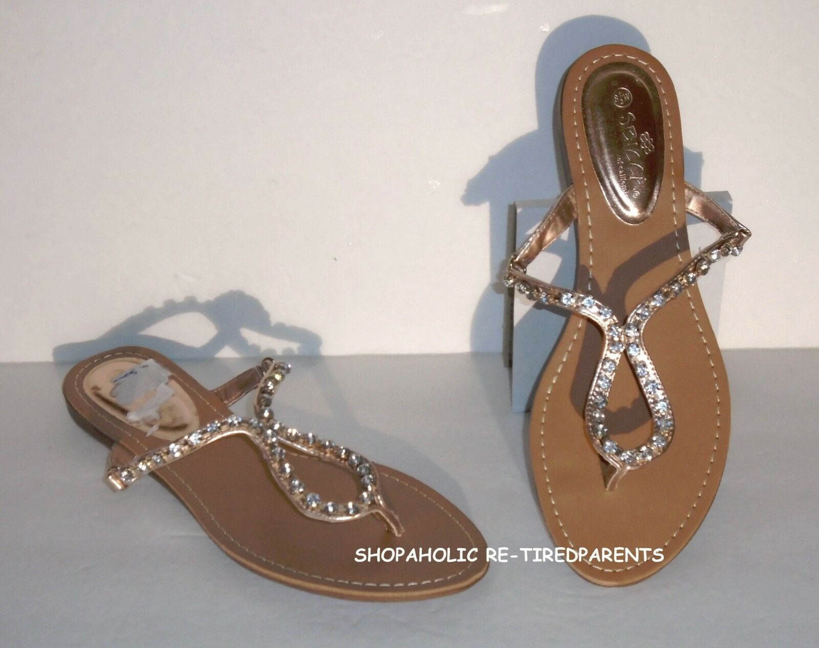 SBICCA - SANDALS – pink gold with 64 RHINESTONES - LOW HEEL – 8½   9 - NEW  49