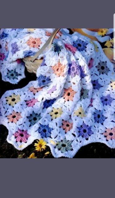 Crochet Pattern Baby Blanket Vintage Flower Patch Ebay