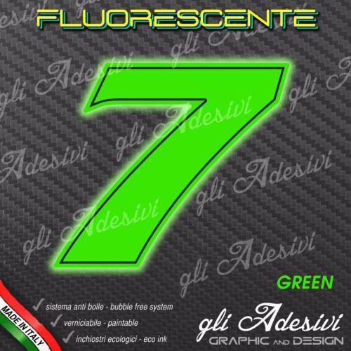 Adesivo Stickers NUMERO 7 moto auto cross gara Verde FLUORESCENTE 15 cm