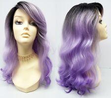 """Pre-Trimmed Lace Front Purple Lavender Long Wavy Heat Resistant Wig 20"""""""