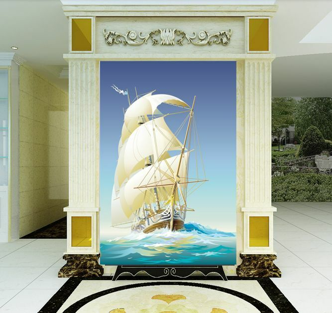 3D Painting bleu Sailboat Paper Wall Print Decal Wall Deco Indoor wall Murals