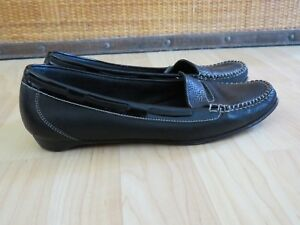 COLE-HAAN-Black-Leather-Penny-Loafers-White-Stitching-Shoes-Flats-7-5-M-GUC