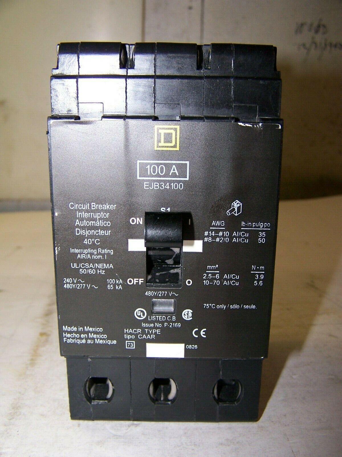 Square D EJB EJB34100 3 Pole 100 Amp 480V Circuit Breaker