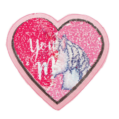 Heart Reversible Sequins Sew On Patches for DIY Clothes Patch Applique GS