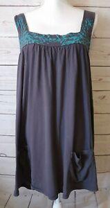Harrilu-Soft-Cotton-Tunic-Top-Size-Large-Gray-Sleeveless-Pockets