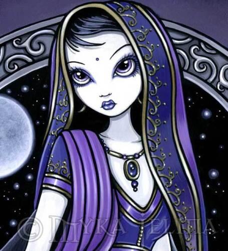 Fairy Art Purple Moon Celestial Sari Hindi Kami Ltd Ed Signed CANVAS Embellished