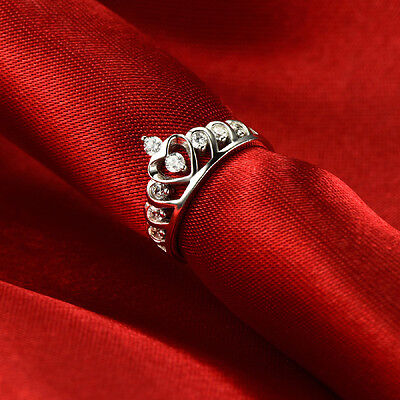 925 Sterling Silver Love Heart Crown Zirconia CZ Diamante Wedding Promise Ring