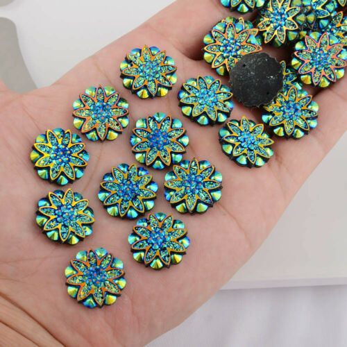 18mm AB Resin Flower Rhinestone Flatback Wedding Phone Case Decoration DIY