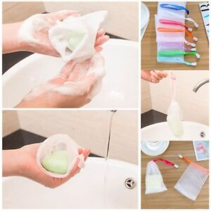 10pcs Soap Sack Saver Pouch Drawstring Holder Bags For Making Bubbles Bathroom Fixtures