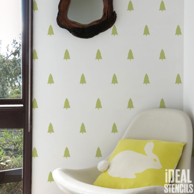 Woodland Trees Repeat Pattern STENCIL Wall Decor Paint Home Craft Reusable