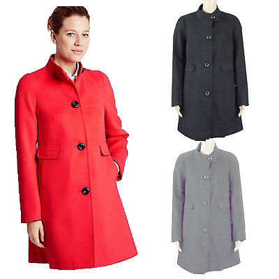 Womens Winter Warm Cotton Turtle Neck Single Breasted Swing Long Coats Jackets #