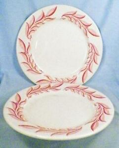 2 Syracuse China Restaurant Ware Luncheon Plates Pink Red Leaf