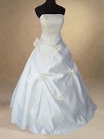 IVORY SATIN BRIDAL WEDDING DRESS BALL GOWN 8,10,12,14,16,18,20 HANDMADE QUALITY