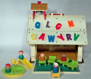 Details About Vintage Play Family School House Fisher Price Little People 923 Set Accessories
