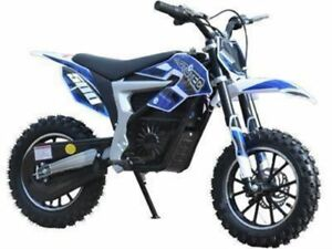 Mototec 36v Electric Dirt Bike 500w Lithium Blue Fast With 3 Speeds Up To 16 Mph