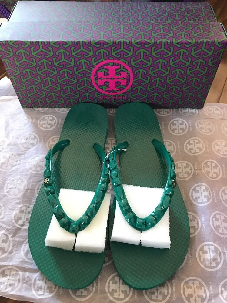 NWB Tory Burch Jeweled Thin Flip Flop, color Emerald, Size 8
